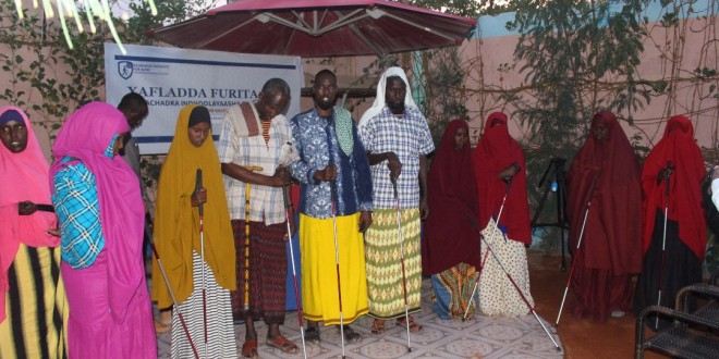 Senator Abshir Bukhari Opened A New School For The blind And Distributed Mobility Equipment To The Blind People In Galmudug State Adado.