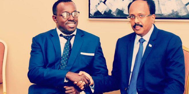 FOUNDER OF SOMALI DISABILITY EMPOWERMENT NETWORK (SODEN) MOHAMED FARAH MET WITH PRESIDENT OF SOMALIA HIS EXCELLENCE MOHAMED ABDULLAH FARMAJO IN ENTEBBE UGANDA.